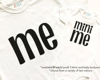 Me mini me Tshirt bodysuit, Mother's Father's Day, birthday grandparents gift, mother daughter father son mom dad twins matching outfits