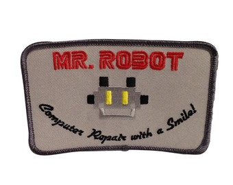 Computer Repair With A Smile! Patch As Worn By Mr. Robot In The TV Show Costume Embroidered Iron On Sew Badge Jacket Hat Mr FSociety Gray