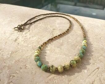 Boho Gypsy Czech-Glass Necklace, Bohemian style