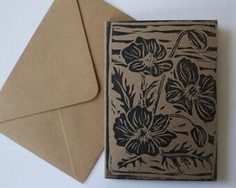 Lino-Print Poppy Card