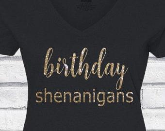 Birthday Girl Shirt! Birthday Shenanigans - Happy Birthday - Adult Shirt - Women's - Any Color - Personalize - Custom