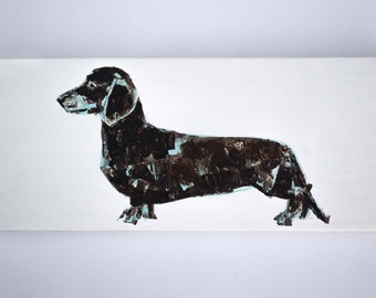 Miniature Dachshund Blue and Brown - Acrylic on Canvas - Original