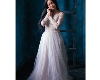 Wedding lace dress -Violet -  unique wedding gown. Bridal gown. Bohemian wedding dress. Bridesmaid dress. Fairy wedding dress