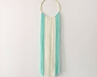 Small Turquoise + Ivory White Modern Bohemian Yarn Wall Hanging