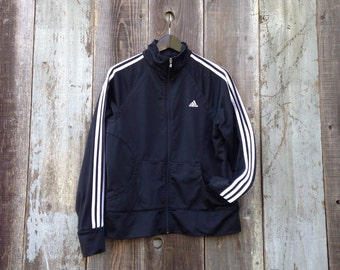 Black Adidas Track Jacket, White Striped Adidas Track Jacket, Black Track Jacket, Womens Adidas Track Jacket