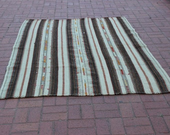 Traditional Turkish Striped Kilim Rug