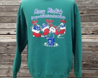 "Vintage 90s United States Postal Service Holiday Sweatshirt - XL - USPS - Christmas ""Merry Mischief"""