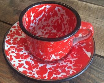 Vintage Enamelware Espresso Cup and Saucer