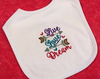 Baby girl embroidered bib