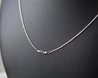 Rough Diamond Necklace, Rough Diamond Choker, April Birthstone, Rough Blue Diamond Necklace, Minimalist Diamond Necklace Tiny Diamond Choker