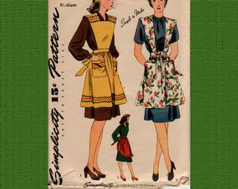 Simplicity 4440 1940's Pinafore Apron Pattern, Medium, complete, used gently