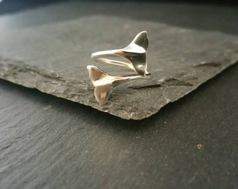 925 Sterling Silver Unique Whale Tail Ring Adjustable Size