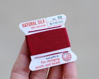 Griffin Silk Thread / No. 10 Garnet / 2 Meters / Pearl Knotting Thread