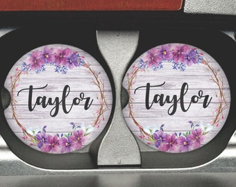 Floral Personalized Car Coaster - Personalized Car Coasters - Girly Car Coaster - Monogram Car Coasters