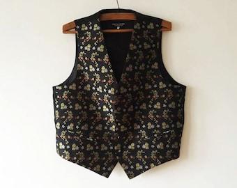 Black Floral Print Men's Vest Pierre Cardin Steampunk Vest Gentlemen's Edwardian Waistcoat Victorian Waistcoat Dress Up Size XXL Large Vest