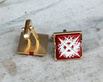 Vintage Cuff Links cufflinks red cufflinks groom cufflinks Soviet cufflink vintage Jewelry cuff links For men Jewelry Men cuff links old