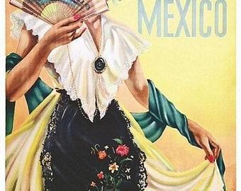 Vintage Jarocha Mexico Tourism Poster  A3 Print