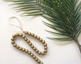 Wooden Bead Garland, Gold Beads, Wood Bead Garland, Garland, Wood Beads, Wood Garland, Bead Garland, Bohemian Decor, Boho Decor,Wood decor