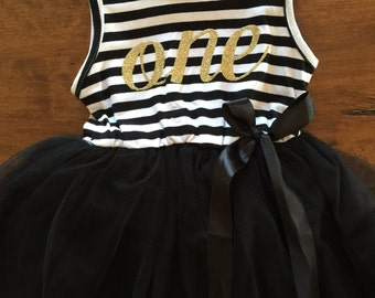 First birthday outfit, 1st birthday dress, black tutu dress with gold letters, 1st dress,cake smash outfit, dress for girls first birthday