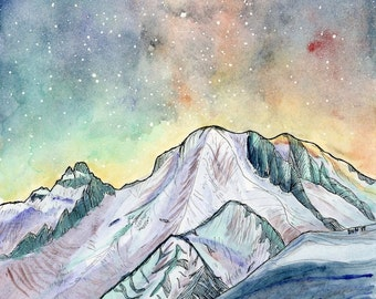 Starry sky / 7x10 archival watercolor print / Mountains