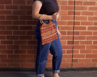 Super funky sequin/beaded wooden hoop handle tribal bag