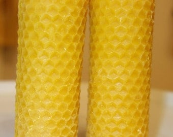 2pcs x 100% Natural Beeswax handmade rolled CANDLE, 9cm X 3,5cm (3,54 inc x 1,38 inc)