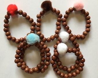 Brown Beaded Mini Pom-Pom Bracelets