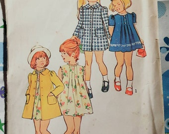 1973 Simplicity 6182 Toddler Girl's Easter Dress and Coat Adorable Size 2 Uncut FF Sewing Pattern ReTrO Holiday!