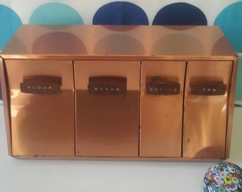 Vintage 1960's Lincoln Beautyware Canister Set- Wall Mount Copper Canister Set