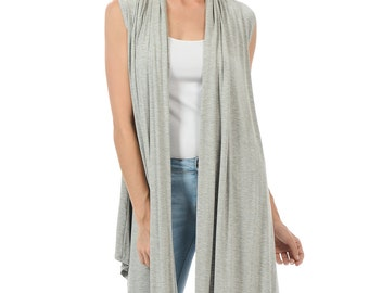 Sleeveless Asymmetric Open Front Vest Heather Grey