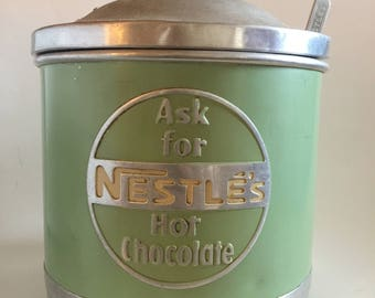 Nestle's vintage mint green aluminium Hot Chocolate large canister