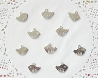 Silver Tone Bird Charms