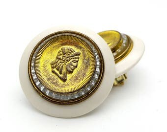 Clip On Ancient Roman Soldier Silhouette Gold Tone and White Plastic Round Stud Earrings Vintage from the 80s Rome Military War