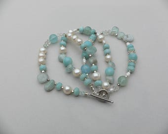 Aquamarine, freshwater pearl, apatite triple strand 925 solid sterling silver toggle clasp bracelet