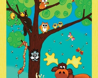 """Forest Friends fabric Panel - 24""""x44"""" - 100% cotton fabric panel by Red Rooster"""