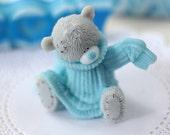 Xmas Gift Ideas, Baby Shower Favors, Winter Gift For Girl Handmade Novelty Soap - Little Gray Teddy Bear In Pullover, Novelty Gift For Her