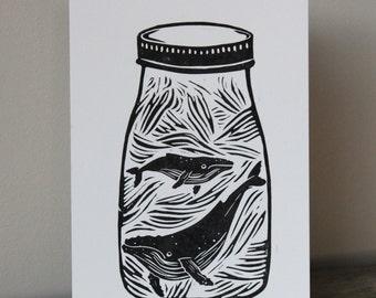 A5 Lino Print -Mason Jar Blue Whales Black and White