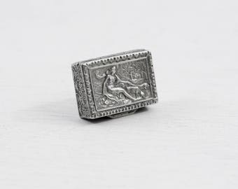 Italian silver pillbox, goddess Diana and her hounds, Greek deity themed pill box or snuff box, small silver, collectible silver trinket box