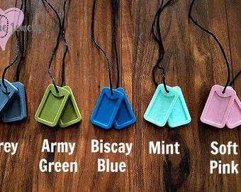 Silicone Dog Tag Chew Necklaces great for nail biters, clothing eaters or fidgeters