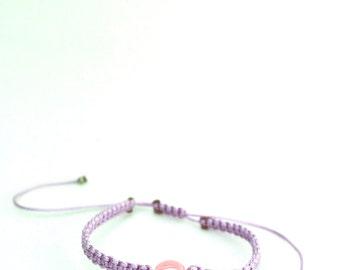 Macrame Evil Eye Light Pink Bead Bracelet/Anklet - TinyLittlePiecesShop