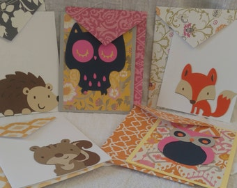 Woodland Creatures Note Cards (set of 5)