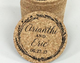 Black Whimsical Wreath Cork Coaster Wedding Favors Personalized with Names and Wedding Date // Wedding Reception Cork Coaster Favor