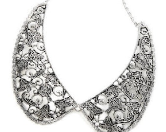 Ornate Silver Collar Necklace NK4016j