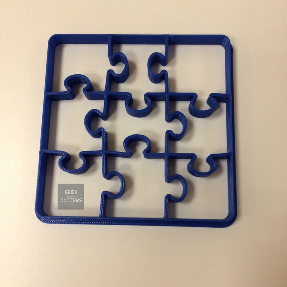Puzzle Cookie Cutter Desk - 1 cut - 9 forms - Fondant, Backing Mold, 3d printed, Cookiecutter