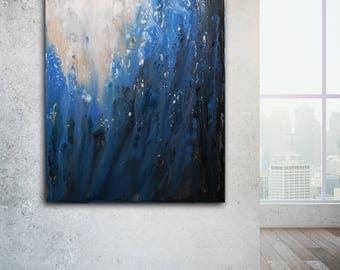 Blue ABSTRACT PAINTING 30x40 Large Canvas Art Blue Painting Original Artwork Large Painting Contemporary Art Minimalist Painting Modern Art