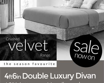 4ft6 Double Luxury Velvet Divan
