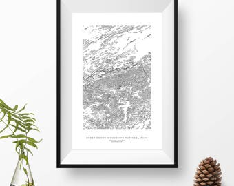 Great Smoky Mountains National Park, Tennessee, North Carolina   Topographic Print, Contour Map, Map Art   Home or Office Decor