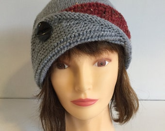 Womens Hand knitted Hats, Grey Winter Hat, Gray and Red Hat, Ladies Wool Hat, knit beanie with Button, Grey Women Hat, Winter Beanie Hat
