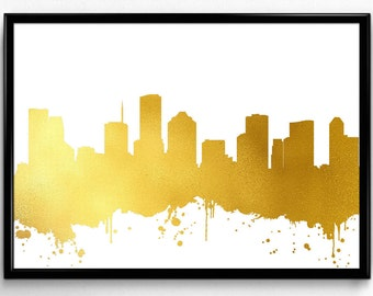 Houston Skyline, Travel, City Skyline, Poster, Room Decor, gift, Poster, Room Decor, printable wall art (78)