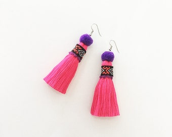 Pretty Tassel Earring With Embroidered Lace & Tiny Pompom